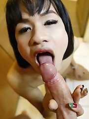Small tits ladyboy gets a facial from a big white dick after sucking his cock