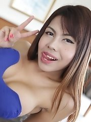 20 year old busty Thai ladyboy sucks tourist cock for a full facial