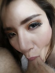 19 year old busty Thai ladyboy sucks off white cock for a facial
